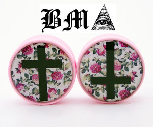 cross, Plugs, and roses image