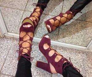 high heels, pumps, and maroon image