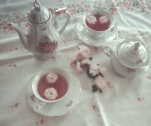 pale, tea, and flowers image