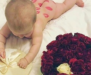 baby, roses, and flowers image