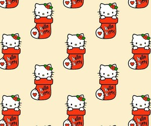 christmas, pattern, and hello kitty image