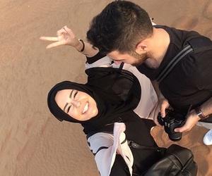couple, hijab, and Sahara image