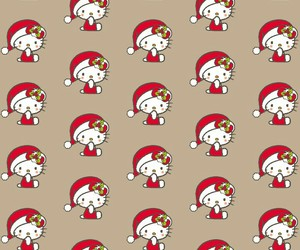 christmas, hello kitty, and pattern image