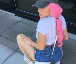 white purse, nike sneakers, and white crop t-shirts image