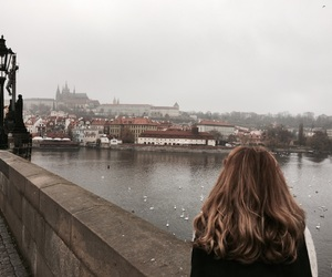 girl, prague, and river image