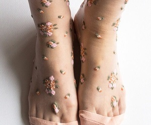 socks, flowers, and pink image