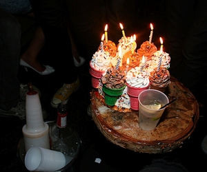 candle, party, and cupcake image