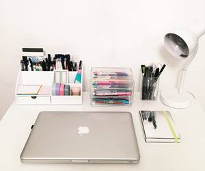 desk, college, and office image