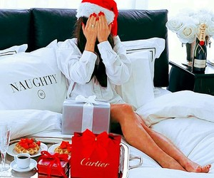 christmas, girl, and bed image