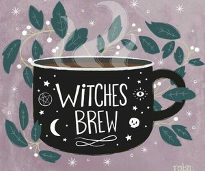 witch, coffee, and Halloween image