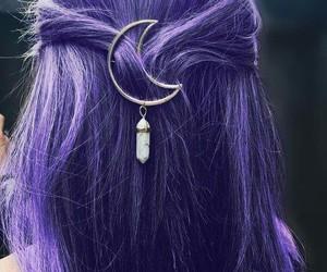 hair, moon, and purple image