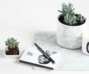 white, plants, and marble image
