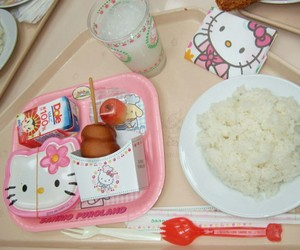 food, hello kitty, and pink image