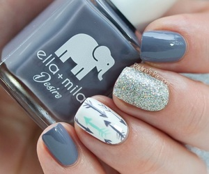 nails, nail art, and grey image