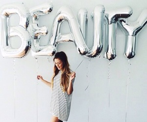 beauty, girl, and balloons image