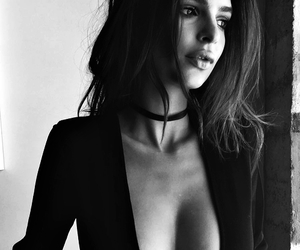 beautiful, black and white, and model image