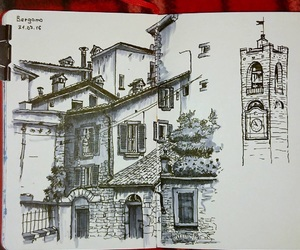 art, house, and sketch image