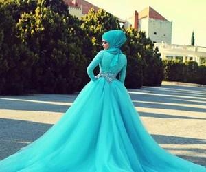dress, hijab, and blue image