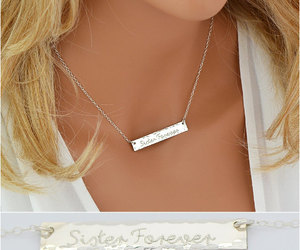 etsy, gift for her, and gold bar necklace image