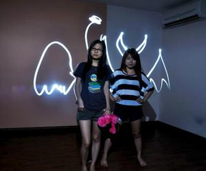 light drawing, cute, and angel vs devil image