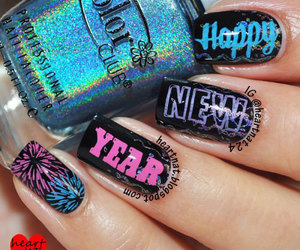 new years nails and happy new year nail art image