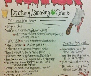 funny, horror movies, and drinking games image