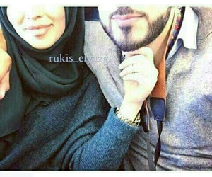 couple, hijab, and love image