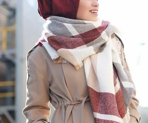 hijab, winter, and red image