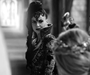 black and white, once upon a time, and the evil queen image