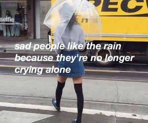 lonely, quotes, and rain image
