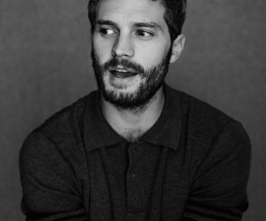beard, black and white, and Jamie Dornan image