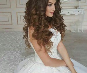 beautiful, bride, and curls image