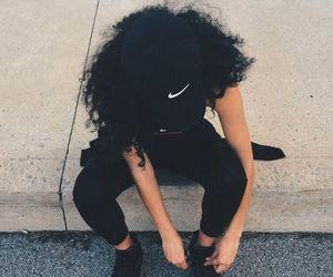 nike, black, and hair image