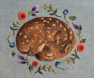 deer, embroidery, and art image