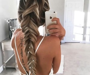 bed, braid, and girl image