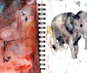 elephant, flamingo, and watercolor image