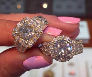 luxury, nails, and diamond image