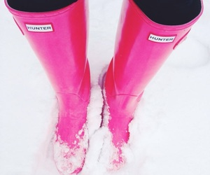 hunter, pink, and snow image