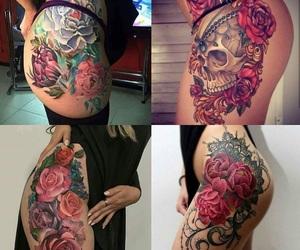 rose, tattos, and skull image