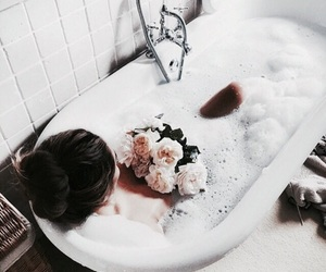 flowers, girl, and bath image