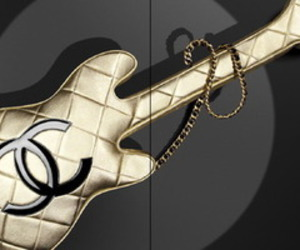 chanel, gold, and guitar case image