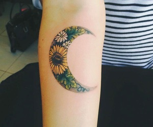 flowers, moon, and tattoo image