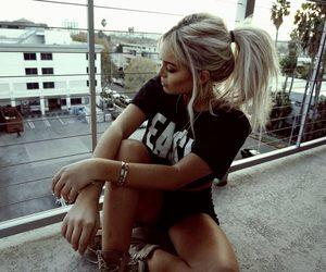 blonde, girl, and curly hair image