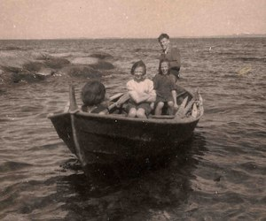 black and white, boat, and children image
