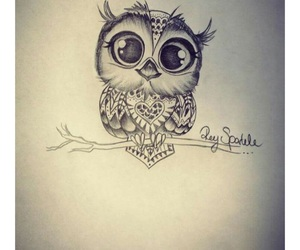 ink, owl, and owl love image