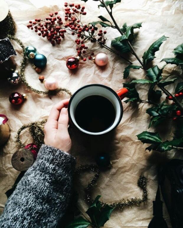 christmas, christmas balls, and coffee image