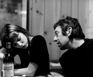 jane birkin, couple, and black and white image