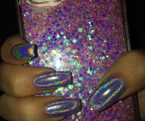 holographic, nails, and pink image