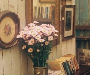 books, old, and flowers image