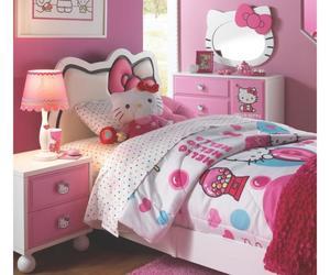 bedroom, girls, and hello kitty image
